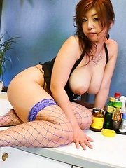 Naho Hadsuki's big tits used for a container before fingered