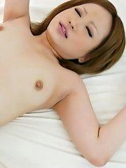 Ai Shirosakia Asian with appetizing boobs has vagina screwed