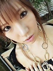Doe eyed Serina Hayakawa strips to toy her pink teen pussy