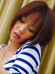 Nene Mashiro Asian with streaky blouse strokes and sucks penis
