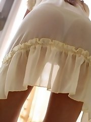 Yu Santome cute teen model in lingerie