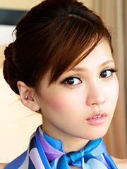 Busty and sexy Japanese av idol Ameri Ichinose shows her amazing body as a stewardess