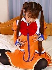 Imokawa gets her jollies in her costume