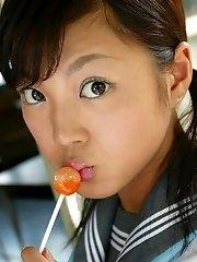 Slutty Sayaka removes clothes flashes tits