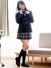 Beautiful and cute Japanese av idol Aichi Nozomi shows her amazing naked body undressing school uniform