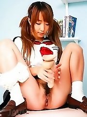 Sana Anzyu Asian takes penis in mouth and fake penis in her pussy