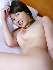Cute and busty Japanese Megumi Haruka strips naked in her home to have fun