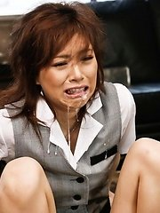 Keito Miyazawa Asian with legs in chains gets sperm in mouth