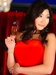 Karin Kusunoki poses in red dress