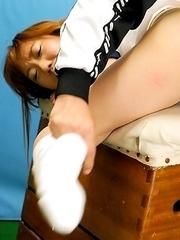 Schoolgirl Misaki Yamamoto accidentally locks herself in the gym storage room for hours.