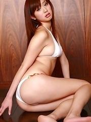 Natsumi Senaga in white lingerie is horny cat for camera